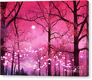 Surreal Fantasy Fairytale Dark Pink Haunting Woodlands Nature With Stars And Twinkling Lights Canvas Print