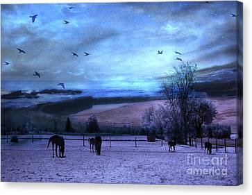 Surreal Fantasy Fairytale Horse Landscapes - Fairytale Blue Skies Canvas Print by Kathy Fornal
