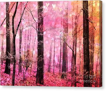 Surreal Fantasy Fairytale Pink Forest Woodlands - Pink Fairytale Fantasy Woodlands  Canvas Print