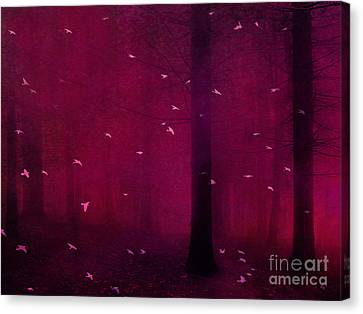 Dark Pink Canvas Print - Surreal Fantasy Forest Woodlands With Birds by Kathy Fornal
