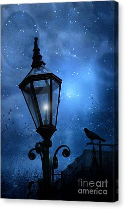 Surreal Fantasy Gothic Blue Night Lantern With Ravens - Starry Night Surreal Lantern Blue Moon Canvas Print by Kathy Fornal