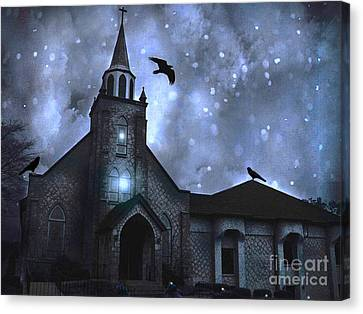 Surreal Fantasy Gothic Church With Ravens Flying - Church Blue Winter Night Canvas Print by Kathy Fornal