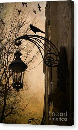 Surreal Fantasy Gothic Lantern With Ravens Canvas Print by Kathy Fornal