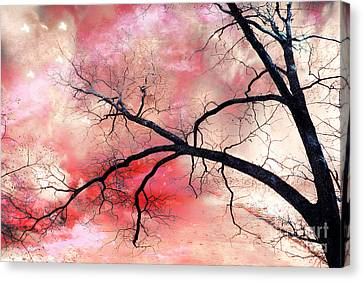 Surreal Fantasy Gothic Nature Tree Sky Landscape - Fantasy Nature Canvas Print by Kathy Fornal