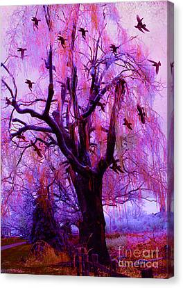 Surreal Fantasy Gothic Purple Pink Nature With Flying Ravens Canvas Print