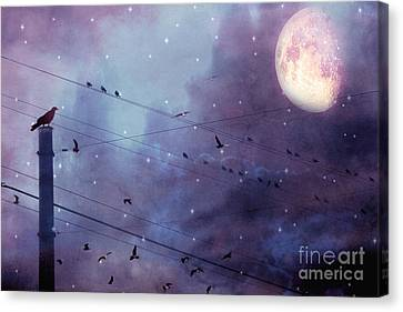 Surreal Fantasy Gothic Raven Moonlit Starry Night - Raven Birds On Powerline With Moon And Stars  Canvas Print by Kathy Fornal