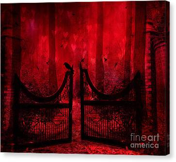 Surreal Fantasy Gothic Red Forest Crow On Gate Canvas Print