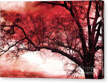 Surreal Fantasy Gothic Red Tree Landscape Canvas Print by Kathy Fornal