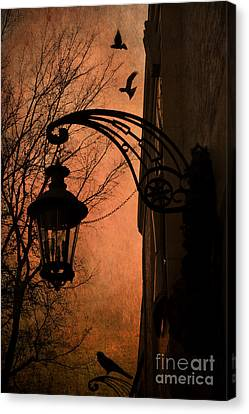 Surreal Fantasy Gothic Street Lantern With Crows And Ravens Canvas Print by Kathy Fornal