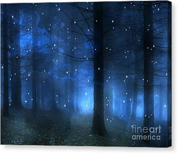 Surreal Fantasy Haunting Blue Sparkling Woodlands Forest Trees With Stars - Starlit Fantasy Nature Canvas Print by Kathy Fornal