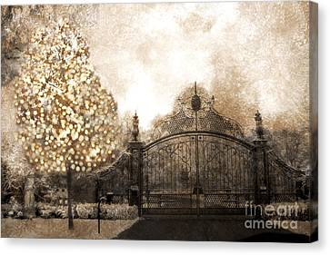 Surreal Fantasy Haunting Gate With Sparkling Tree Canvas Print by Kathy Fornal