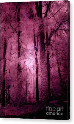 Dark Pink Canvas Print - Surreal Fantasy Pink Forest Woodlands by Kathy Fornal