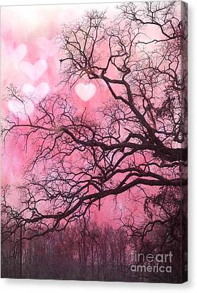 Surreal Fantasy Pink Hearts Trees And Nature - Dreamy Pink Hearts In Trees  Canvas Print by Kathy Fornal