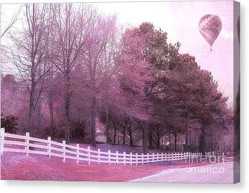 Surreal Fantasy Pink Nature Country Road With Hot Air Balloon Canvas Print by Kathy Fornal