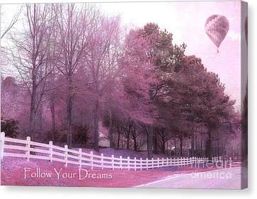 Surreal Fantasy Pink South Carolina Nature Hot Air Balloon Typography - Follow Your Dreams Canvas Print