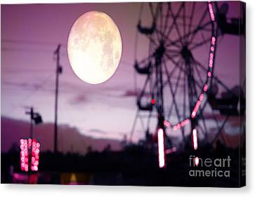 Surreal Fantasy Purple Night Ferris Wheel Full Moon  Canvas Print by Kathy Fornal