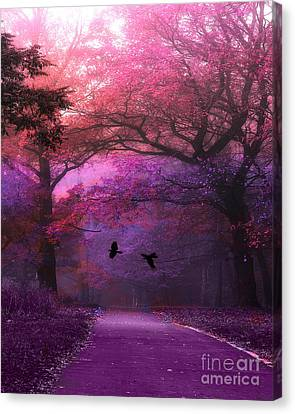 Surreal Fantasy Purple Pink Autumn Fall Nature Woodlands - Purple Woodlands With Flying Ravens Canvas Print