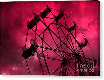 Surreal Fantasy Red And Pink Ferris Wheel Carnival Ride With Stars Canvas Print by Kathy Fornal