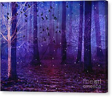 Surreal Fantasy Starry Night Purple Woodlands - Purple Blue Fantasy Nature Fairy Lights  Canvas Print