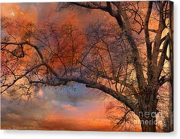 Nature Scene Canvas Print - Surreal Fantasy Orange Sunset Trees Ethereal Landscape by Kathy Fornal