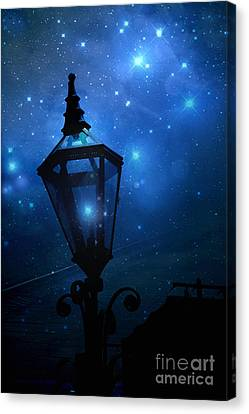 Surreal Fantasy Twinkling Sparkling Night Lantern With Stars And Sparkling Moon Light Canvas Print by Kathy Fornal