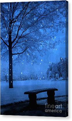 Surreal Fantasy Winter Blue Tree Snow Landscape Canvas Print by Kathy Fornal
