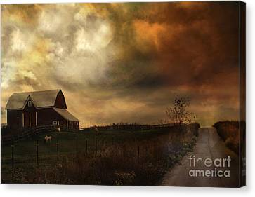 Surreal Fine Art Rural Barn Nature Country Road Landscape Canvas Print by Kathy Fornal