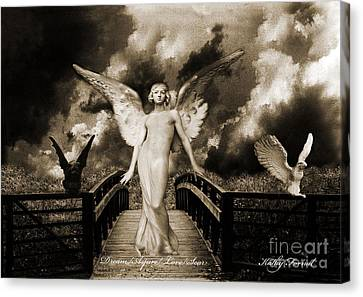 Dark Angel Art Canvas Print - Surreal Gothic Angel With Gargoyle And Eagle by Kathy Fornal