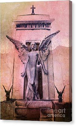 Surreal Gothic Angel With Gargoyles - Fantasy Angel And Gargoyles  Canvas Print by Kathy Fornal