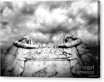 Surreal Gothic Black And White Cemetery Mourners On Casket  Canvas Print by Kathy Fornal