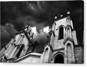 Surreal Gothic Black And White Church Steeple With Cross - Haunting Spooky Surreal Gothic Church Canvas Print by Kathy Fornal