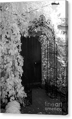 Surreal Gothic Black And White Infrared Doorway Canvas Print by Kathy Fornal