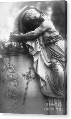 Dark Angel Art Canvas Print - Surreal Gothic Cemetery Angel Mourner Draped Over Coffin With Cross- Haunting Cemetery Sculpture Art by Kathy Fornal