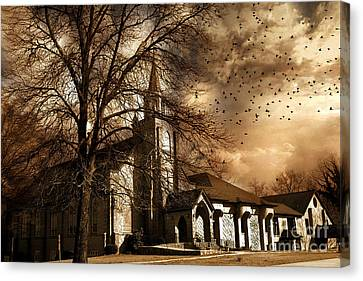 Surreal Gothic Church Fall Autumn Dark Sky And Flying Ravens  Canvas Print by Kathy Fornal