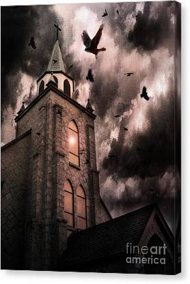 Surreal Gothic Church Storm Clouds Haunting Flying Ravens - Gothic Church Canvas Print by Kathy Fornal
