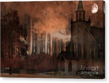Brown Tones Canvas Print - Surreal Gothic Church Autumn Fall Orange Brown With Full Moon And Stars by Kathy Fornal