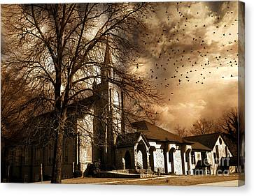 Surreal Gothic Church With Storm Skies And Birds Flying Canvas Print by Kathy Fornal