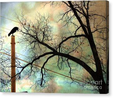 Surreal Gothic Crow Ravens Birds Fantasy Nature  Canvas Print by Kathy Fornal