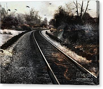 Surreal Gothic Dark Train Railroad Tracks With Flying Ravens Canvas Print by Kathy Fornal