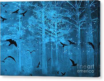 Surreal Gothic Fantasy Blue Starry Woodlands Forest With Flying Ravens Canvas Print by Kathy Fornal