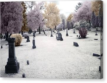 Surreal Gothic Fantasy Cemetery Graveyard Canvas Print by Kathy Fornal