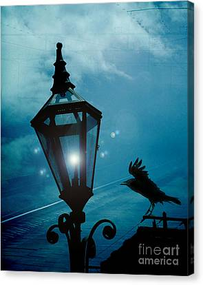 Surreal Gothic Fantasy Dark Night Street Lantern With Flying Raven  Canvas Print