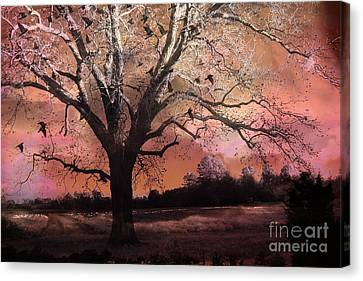 Surreal Gothic Fantasy Trees Pink Sky Ravens Canvas Print by Kathy Fornal