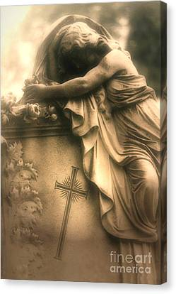Surreal Gothic Haunting Cemetery Mourner On Grave With Cross And Roses Coffin Canvas Print