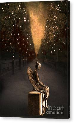 Dark Angel Art Canvas Print - Surreal Gothic Angel Haunting Emotive Angel Sitting On Bench -fantasy Surreal Gothic Angel Prints by Kathy Fornal