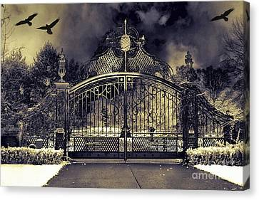 Surreal Gothic Haunting Gate With Flying Ravens Canvas Print by Kathy Fornal