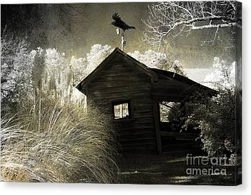 Surreal Gothic Infrared Old Building With Raven Canvas Print by Kathy Fornal
