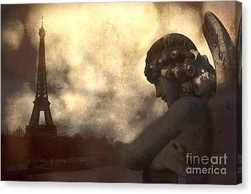 Dark Angel Art Canvas Print - Surreal Gothic Paris Eiffel Tower With Angel Statue Montage by Kathy Fornal