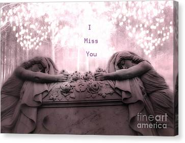 Surreal Gothic Sad Angels Cemetery Mourners At Grave - I Miss You Canvas Print