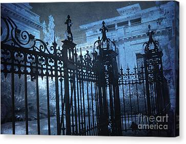 Surreal Gothic Savannah Mansion Black Rod Iron Gates Canvas Print by Kathy Fornal